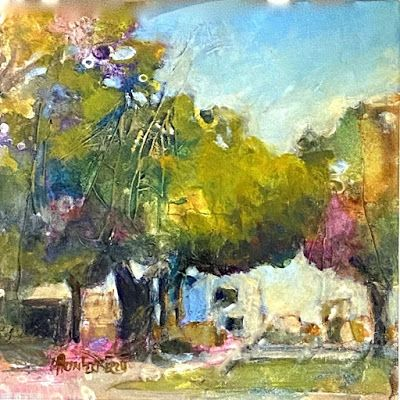 """Small Paintings, Colorful Contemporary Landscape Painting, Abstract Landscape, """"Street View"""" by Passionate Purposeful Painter Holly Hunter Berry"""