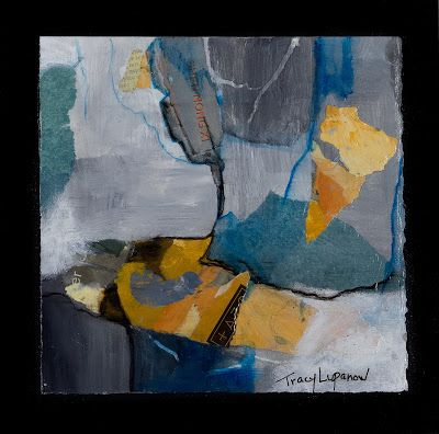 "Mixed Media Abstract Painting, Contemporary Art, Expressionism, ""River"" by Contemporary Artist Tracy Lupanow"