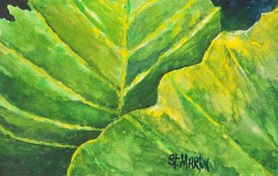 "Original Botanical Watercolor Painting,Green Leaf Art ""Pop of Green"" by Florida Impressionism Artist Annie St Martin"