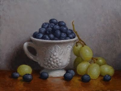 """""""Blueberries and Grapes"""" Oil on 6x8 inch board"""