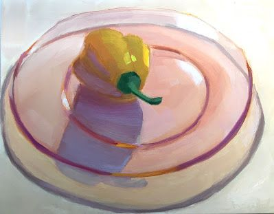 Yellow Pepper on Pink Plate