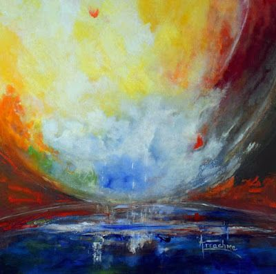 """Contemporary Seascape, Landscape Painting """"Connecting Worlds"""" by International Abstract Artist Arrachme"""