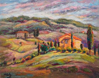 """New """"Perched on High"""" Palette Knife Painting from Tuscany by Niki Gulley"""