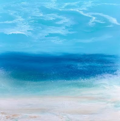 "Contemporary Seascape, Abstract Seascape, Coastal Living Decor, Fine Art , Stormy Sea, ""Afternoon Splash II- Skillern's Seas Series"" by International Contemporary Artist Kimberly Conrad"
