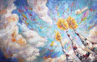 "New ""Soaring High"" Palette Knife Aspen Tree Painting by Niki Gulley"