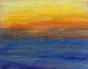 "Abstract Mixed Media Seascape Painting ""MANHATTAN BEACH SUNSET"" by California Artist Cecelia Catherine Rappaport"