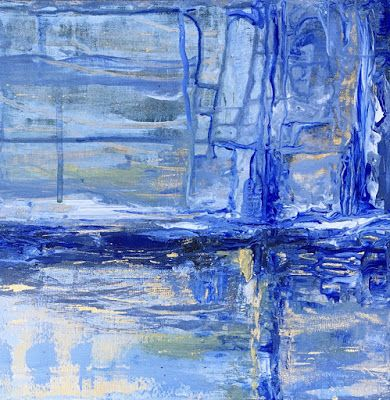"""Abstract Painting, Blue Art, Expressionist Art, Contemporary Painting """"Storm Warning"""" by Virginia Contemporary Artist Lou Jordan"""