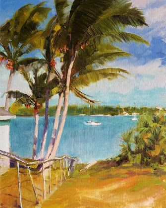 """""""Coral Cove"""" Oil, landscape painting by Robin Weiss"""