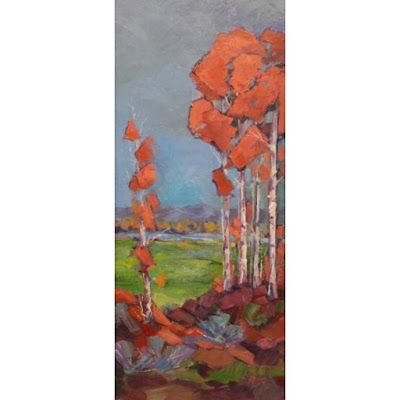 "Impressionist Landscape,Trees, Fine Art Oil Painting ""Hillside View"" by Colorado Contemporary Fine Artist Jody Ahrens"