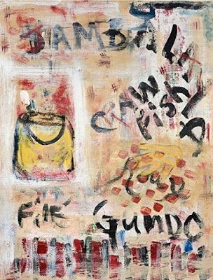 "Abstract , Folk Art, Narrative Art Painting, ""Cajun Cookin"" Narrative Art by Santa Fe Artist Judi Goolsby"