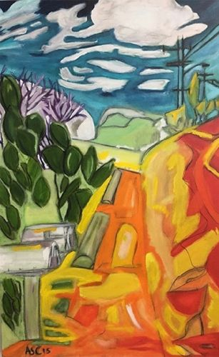 """Abstract Landscape, Contemporary Art, Abstract,Expressionism, Studio 9 Fine Art """"On the Way to Orpheus Park"""" by International Abstract Artist Amanda Saint Claire"""