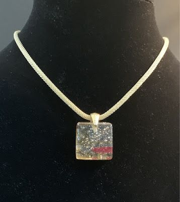 "Contemporary Jewelry, One of a Kind Fused Glass Jewelry, Necklace ""FUSED GLASS NECKLACE"" by Florida Contemporary Artist and Designer Mary Ann Ziegler"