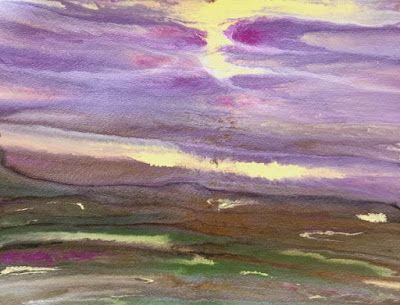 """Abstract Landscape, Purple Sky """"Reflections on the Plains Mini 5"""" by International Contemporary Artist Kimberly Conrad"""