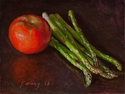 Asparagus tomato still life painting vegetable original daily painting a day
