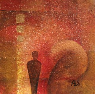 "Original Contemporary Abstract Mystical Painting With Figure ""Essence"" by Arizona Contemporary Artist Pat Stacy"
