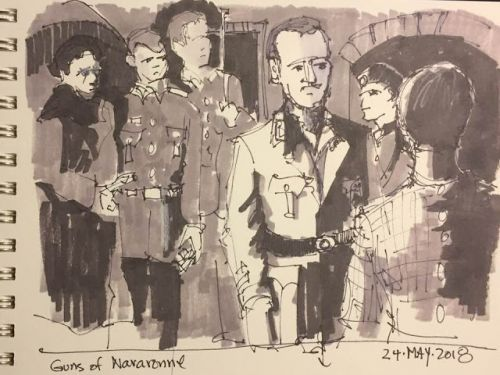 """Day 232 """"Guns of Navarone"""" 6 x 9 ink and markers"""