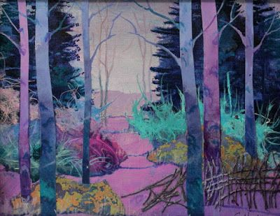 """Abstract Landscape, Trees, Contemporary Art, """"Lavender Love"""" by Colorado Artist Carol Nelson"""