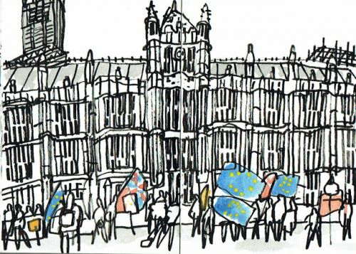 Flags and speeches outside the Houses of Parliament