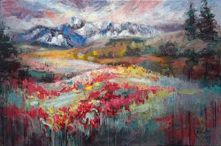 New Colorado Wildflower Painting by Palette Knife Artist Niki Gulley