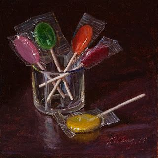 Lollipop candy still life daily painting a day small work of art contemporary realism