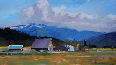 """Blue Mountain"" Skagit Valley, plein air painting by Robin Weiss"