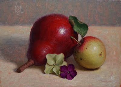 """Pear, Crab Apple, Hydrangea, and Phlox"" Oil on 5x7 board"