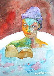 "Female Watercolor Modern Art Portrait Painting ""Nita"" by Colorado Artist Kit Hedman"