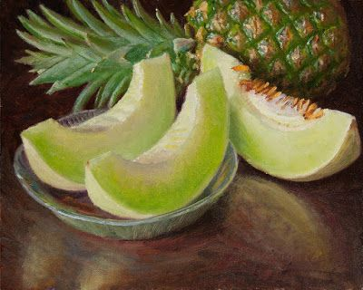 Honeydew melon pineapple still life painting fruit daily painting a day