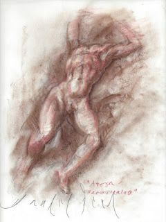 Male nude study after Parmigianino
