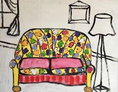 "Contemporary Painting, Folk Art, Narrative Art Painting,Still Life, Interior View ""Sofa, Living Room"", Santa Fe Artist, Judi Goolsby"