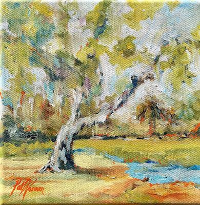 "Impressionist Landscape Fine Art Oil Painting, Tree, ""Moss Memory"" by Georgia Artist Pat Warren"