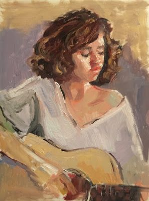 More Strumming - original oil portrait sk
