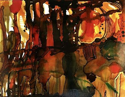 """Contemporary Abstract Painting, Alcohol Ink Art """"BONFIRE"""" by New Orleans Artist Lou Jordan"""