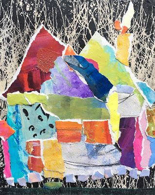 "Summer Sale, Paper House Painting, Textural Collage, Small Painting, Mixed Media ""PAPER HOUSE IN THE WOODS"