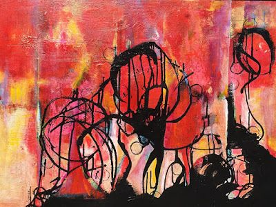 "Contemporary Abstract Expressionist Fine Art Painting, ""DANCING TOGETHER"
