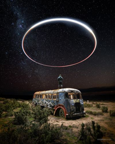 Photo of 'Halo' Over Abandoned Bus Shot Using Drone Light