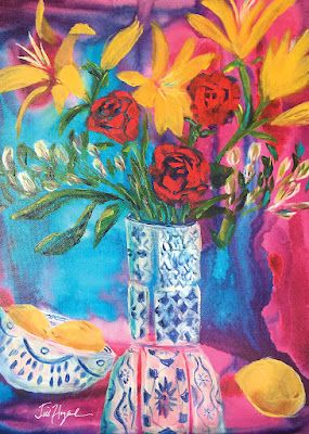 """Red Roses, Expressive Still Life Floral Painting, Contemporary Floral, Original Flower Art, """"CRYSTAL ROSE"""" by Texas Contemporary Artist Jill Haglund"""