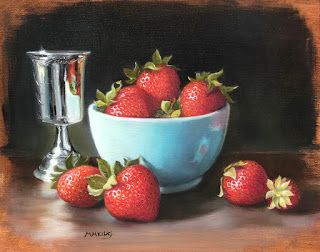 Strawberries with Silver Goblet - SOLD
