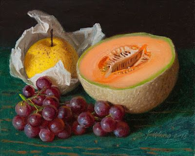 Cantaloupe grapes Asian pears still life oil painting original food fruit painting a day