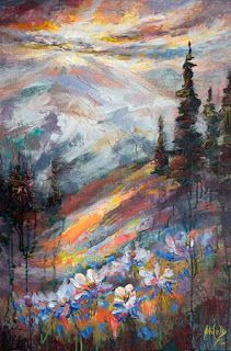 New Colorado Columbine Textured Painting by Niki Gulley