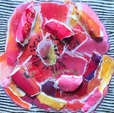 "Botanical Art, Abstract Flower, Mixed Media, Paper Flower Art ""PAPER POPPY"