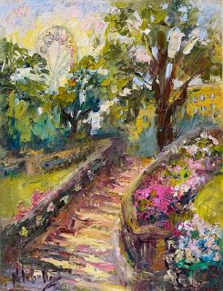 "New ""Princess Gardens"" Palette Knife Painting from Edinburgh, Scotland by Niki Gulley"