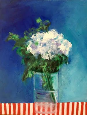 """Contemporary Still Life Art Painting """"Mums The Word"""" by California Artist Cecelia Catherine Rappaport"""