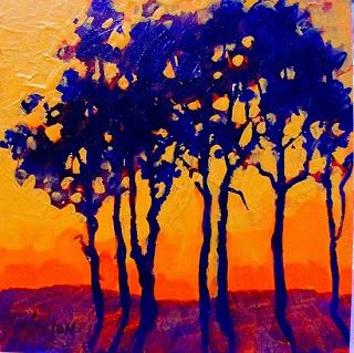 "Colorful Contemporary Landscape Tree Art Painting ""Sunset Trees"" by Colorado Mixed Media Abstract Artist Carol Nelson"