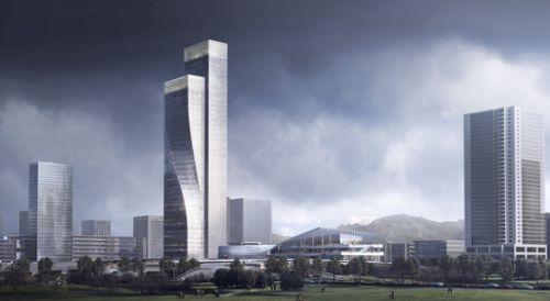 Construction in Progress on Twisting Towers in Southwest China