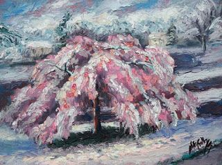 New Late Snowfall Painting by Contemporary Impressionist Niki Gulley