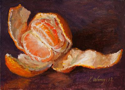 A peeled mandarin orange still life painting a day