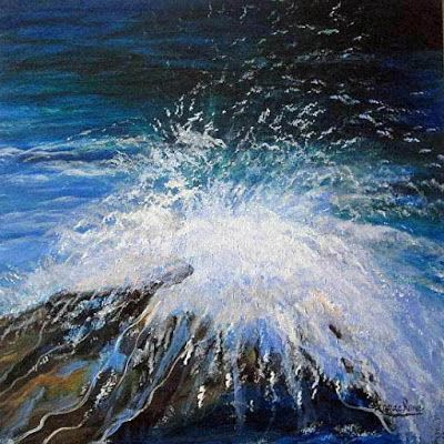 """Contemporary Seascape Painting """"Laughter"""" by International Contemporary Abstract Artist Arrachme"""