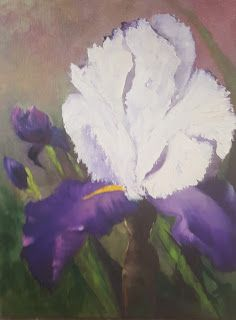 Iris Purple White,flower,oils canvas,Barbara Haviland-Texas Floral Artist