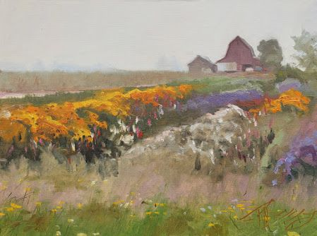 """""""Farm Stand Field"""" plein air landscape painting by Robin Weiss"""